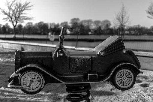 Park, Car, Child, Children, Spring Car, Playground