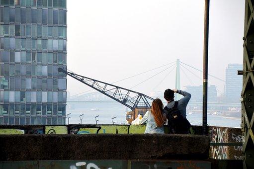 Cologne, Bridge, Crane Homes, Love, Pair, Forward