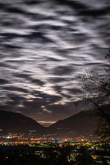 Domodossola, City, Night, Lights, Lighting, Landscape