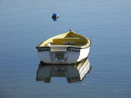 Boat, Small Boat, Tender, Faro, Olhao, Portugal, Sea