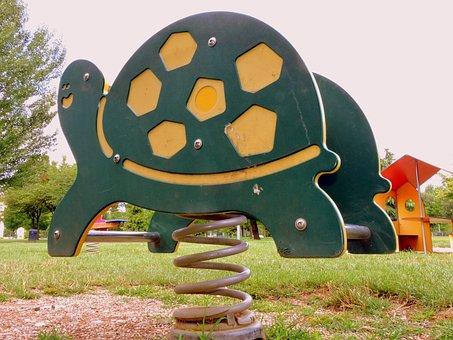 Game, Turtle, Spring, Park, Fun, Playground