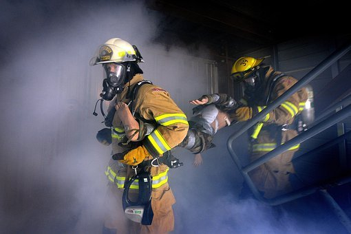 Firemen, Firefighter, Fire, Flames, Smoke, Water, Hose
