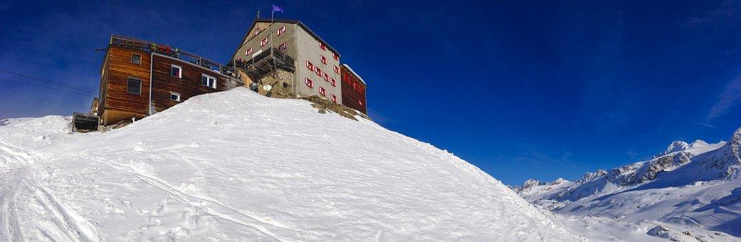 Val Senales, Beautiful View, Winter, Hut, Glacier