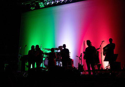 Music, Band, Complex, Concert, Lights, Tricolor, Italy