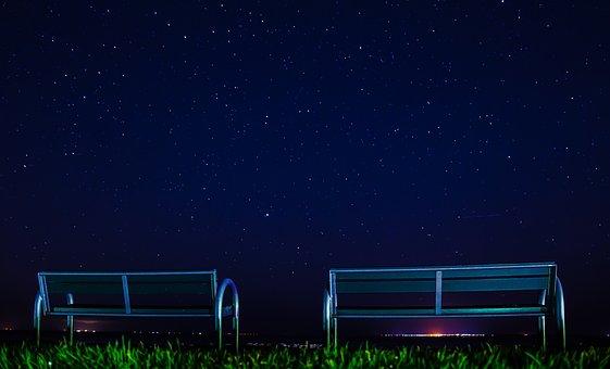 Starry Sky, Landscape, Sky, Star, Night, Moon, Dark