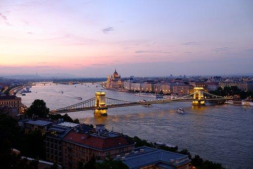 Budapest, Sunset, Lights, Purple, Landscape, Bridge