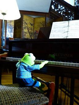 Kermit, Frog, Piano, Play, Exercise, Musician, Pianist