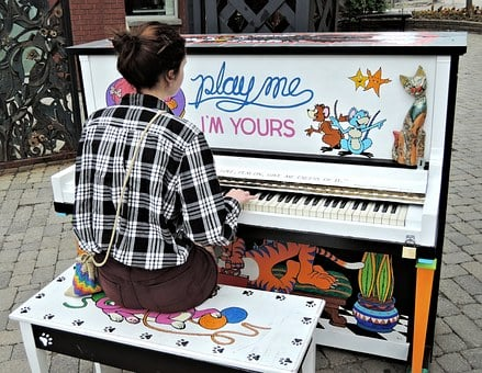 Pianist, Outdoor Piano, Girl, City, Canada, Music