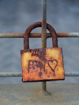 Castle, Old, Heart, Padlock, Rust, U-lock, Romanesque