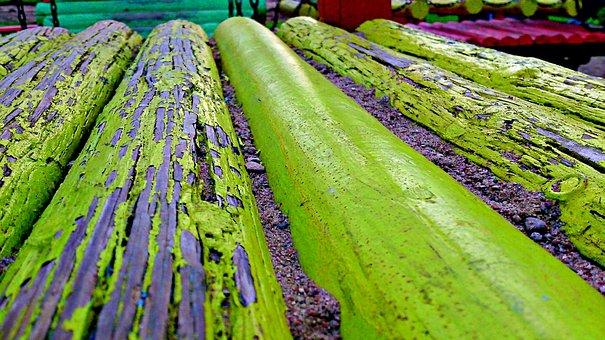 Wood, Playground, Paint, Sand