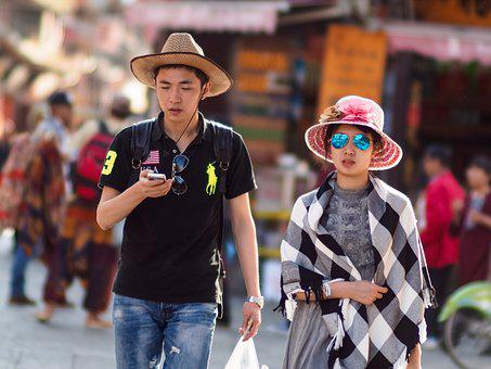 Dali, Couple, People, Street, Young, Pair, Hats, Summer