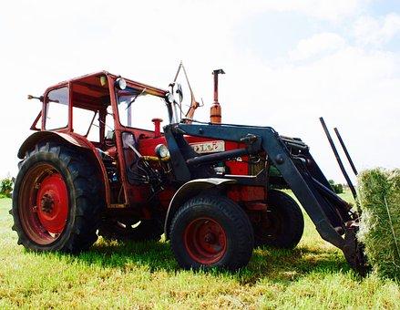 Tractor, Red, Summer, Harvest, Machine, Lantbru
