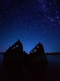 Astronomy, Night Sky Stars, Landscape, Boat, Scotland