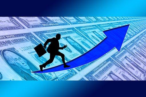 Businessman, Briefcase, Success, Curve, Dollar