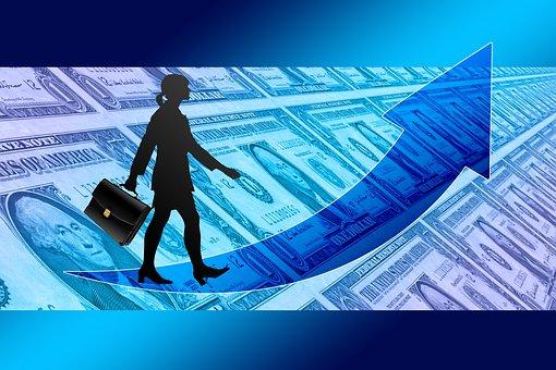 Businesswoman, Briefcase, Success, Curve, Dollar