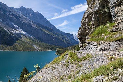 Mountains, Lake, Trail, Hiking, Landscape, Switzerland