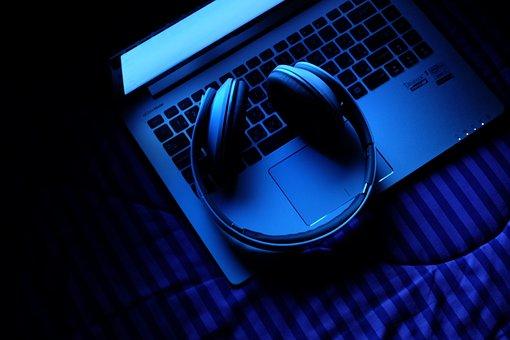 Laptop, Notebook, Technology, Music, Headphones