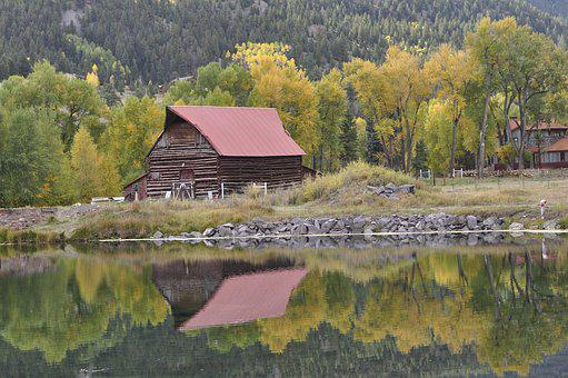 Lake, Cabin, Red Barn, Wilderness Lodge, Nature