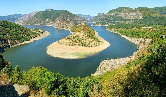 Valley, River, Mountains, Dam, Reservoir, Meander