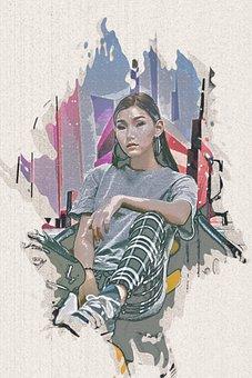 Woman, Model, Fashion, Asian, Girl, Female, Poster