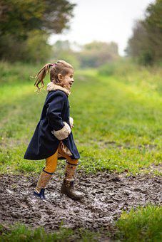 Girl, Kid, Mud, Boots, Playing, Muddy, Childhood, Child