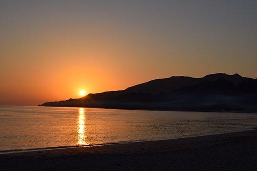 Beach, Hill, Sunrise, Silhouette, Sun, Sunlight