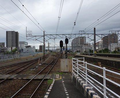 Rail, Line, Train, Station, Trip, Sunset, Twilight