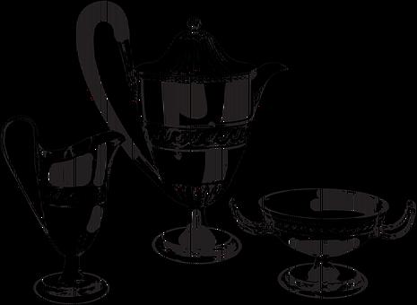 Silver Ware, Pot, Teapot, Fancy, Vintage, Tea, Sugar