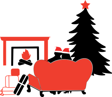 Christmas, Red And Black, Couple, Fireplace