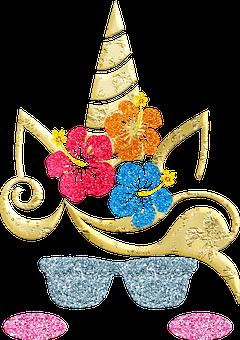 Unicorn, Glitter, Flowers, Unicorn Face, Sunglasses
