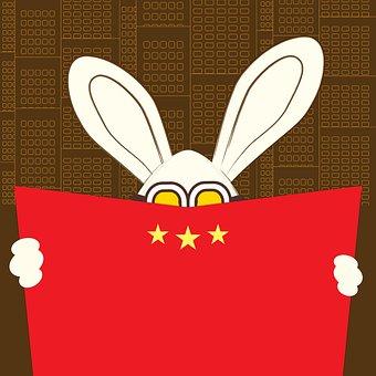 Hide And Seek, Abstract Cartoon Art, Long Eared Rabbit