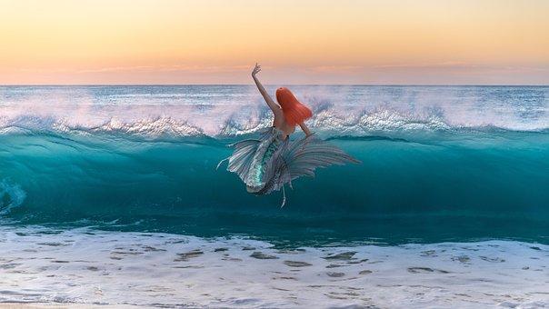 Mermaid, Ocean, Sea, Water, Woman, Fantasy, Swim