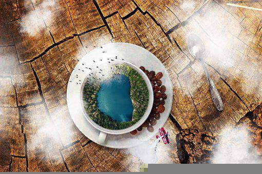 Cup, Lake, Coffee, Blue, Coffee Beans, Airplane, Clouds