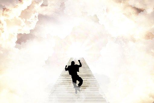 Heaven, Man, Joyful, Happy, Stairs, Steps, Eternity