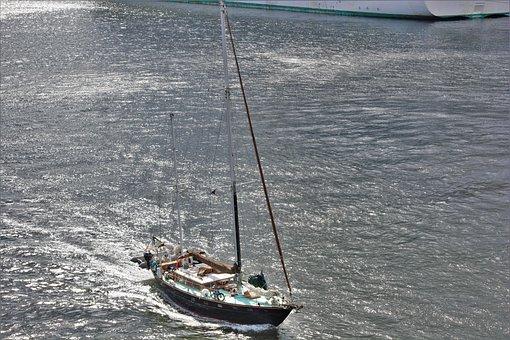 Large Sailboat, Luxury Yacht, Motoring, Harbor, Ocean
