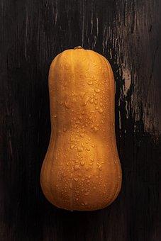 Pumpkin, Vegetable, Wet, Droplets, Water Droplets