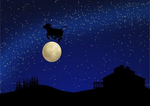 Cartoon, Rhyme, Nursery, Cow, Moon, Barn, Night