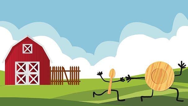 Cartoon, Rhyme, Nursery, Children, Funny, Barn, Dish