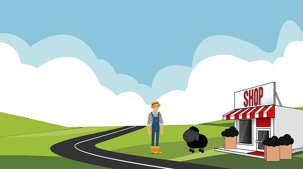 Cartoon, Rhyme, Nursery, Children, Farmer, Sheep, Black
