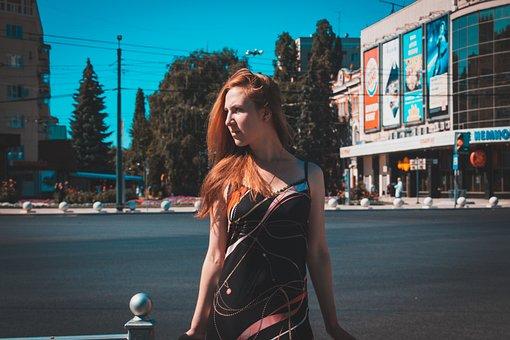 Woman, Girl, City, Street
