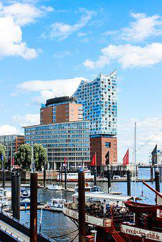 Elbphilharmonie, Port, River, Buildings, Boats, City