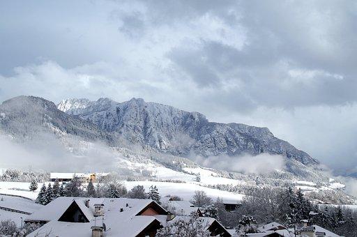 Village, Snow, Mountains, Winter, Clouds, Fog, Foggy