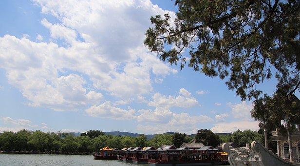 Scene, Lake, Water, Kunming Lake, Boats, Marble Boat