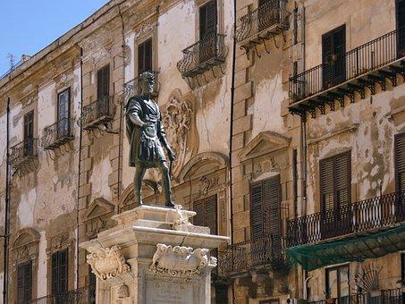 Statue, Bronze, Sculpture, Figure, History, Palermo