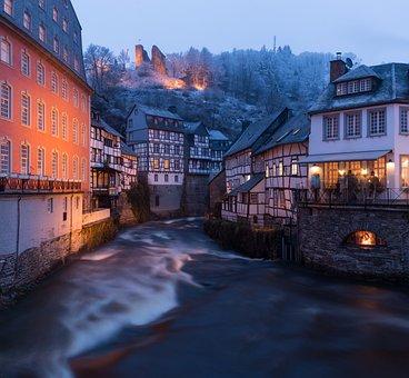 Town, River, Winter, Buildings, Blue Hour, Twilight