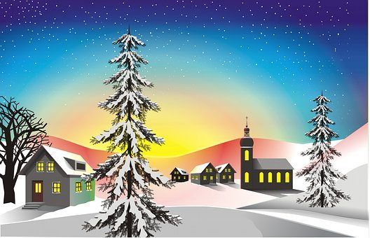 Village, Snow, Sunset, Trees, Fir Trees, Wintry, Winter