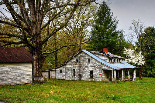 Farm, Farmhouse, Abandoned, Old, Forgotten, Trees