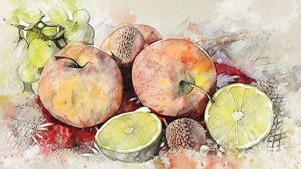 Fruits, Food, Photo Art, Apple, Mandarin, Grapes