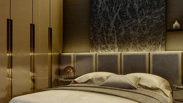 Hotel Room, Interior Design, Bedroom, Bed, Furniture