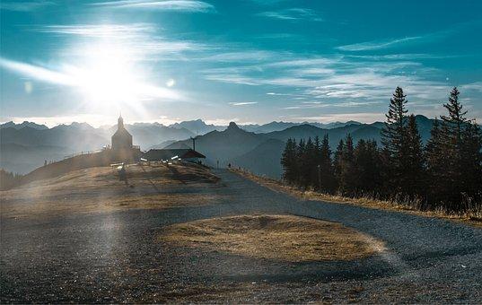 Rural, Mountains, Sun, Buildings, Village, Path, Road